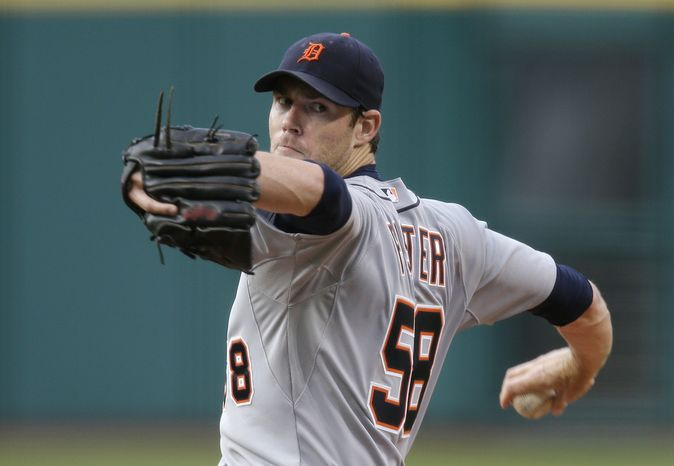 Detroit Tigers' Doug Fister pitches against the Cleveland Indians in a baseball game Wednesday, Aug. 7, 2013, in Cleveland. (AP Photo/Mark Duncan)