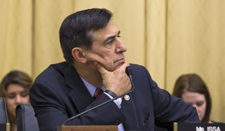Rep. Darrell Issa, R-Calif., listens as the House Judiciary Committee focuses on oversight of the U.S. Department of Justice, on Capitol Hill in Washington, Wednesday, May 15, 2013. Rep. Issa is the chairman of the House Oversight Committee. Lawmakers pressed for answers about the unwarranted targeting of Tea Party and other conservative groups by the Internal Revenue Service and the Justice Department's secret seizure of telephone records at The Associated Press.  (AP Photo/J. Scott Applewhite)
