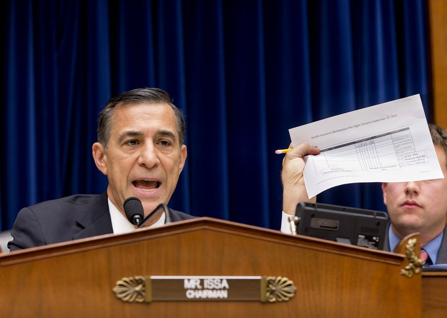 House Oversight Committee Chairman Rep. Darrell Issa, R-Calif., holds up a checklist related to the preparation for the implementation of the Obamacare healthcare program, and specifically, the HealthCare.gov website, on Capitol Hill in Washington, Wednesday, Nov. 13, 2013. Issa wants to know why the administration required consumers to first create online accounts at HealthCare.gov before they could shop for health plans, a decision runs counter to the common e-commerce practice of allowing anonymous window-shopping.  (AP Photo/J. Scott Applewhite)