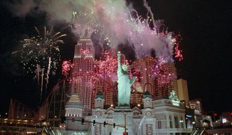 **FILE** Fireworks explode over the New York-New York, a $460 million hotel & casino in Las Vegas, on Jan. 2, 1997. (Associated Press)