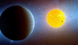 ** FILE ** This artist's conception depicts the Kepler-10 star system, where Kepler has discovered two planets. Kepler-10b (the dark spot in front of the yellow star) is the smallest planet outside our solar system. Kepler-10c, the larger planet to the left is much bigger. Both planets would be blistering hot worlds (Credit: NASA/Ames/JPL-Caltech)