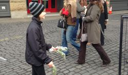 Madison Root, 11, from the Portland suburb of Lake Oswego, Ore., sells mistletoe last weekend Nov. 31, 2013 by the Skidmore fountain in Portland. She wanted to help pay for her braces but ran afoul of city ordinances when she tried to sell the mistletoe she picked at her uncle's farm. (AP Photo/Ashton Root)