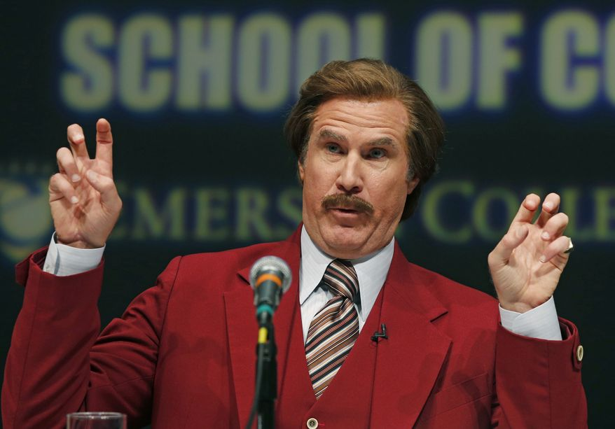 Actor and comedian Will Ferrell, who plays TV anchorman Ron Burgundy, stays in character during a news conference at Emerson College in Boston, Wednesday, Dec. 4, 2013. The school has changed the name of its School of Communication for one day to honor the fictitious television anchorman. (AP Photo/Elise Amendola)