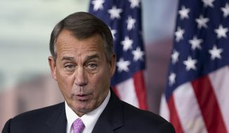 House Speaker John A. Boehner, Ohio Republican, speaks during a news conference on Capitol Hill in Washington on Thursday, Dec. 5, 2013. (AP Photo/Manuel Balce Ceneta)