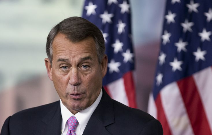 House Speaker John A. Boehner, Ohio Republican, speaks during a news conference on Capitol Hill in Washington on Thur