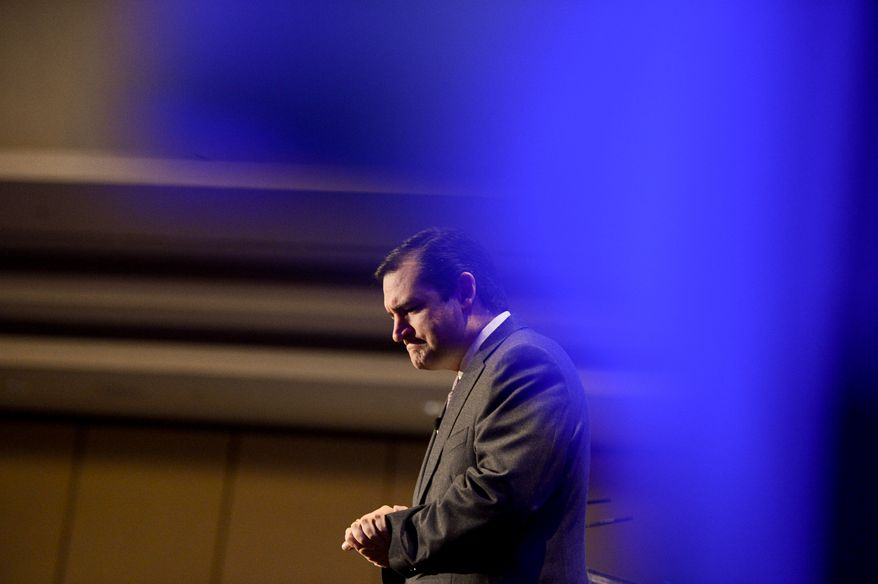 Sen. Ted Cruz (R-Texas) speaks in front of the American Legislation Exchange Council's 2013 States & National Policy Summit at the Grand Hyatt in downtown, Washington, D.C., Thursday, December 5, 2013. (Andrew Harnik/The Washington Times)
