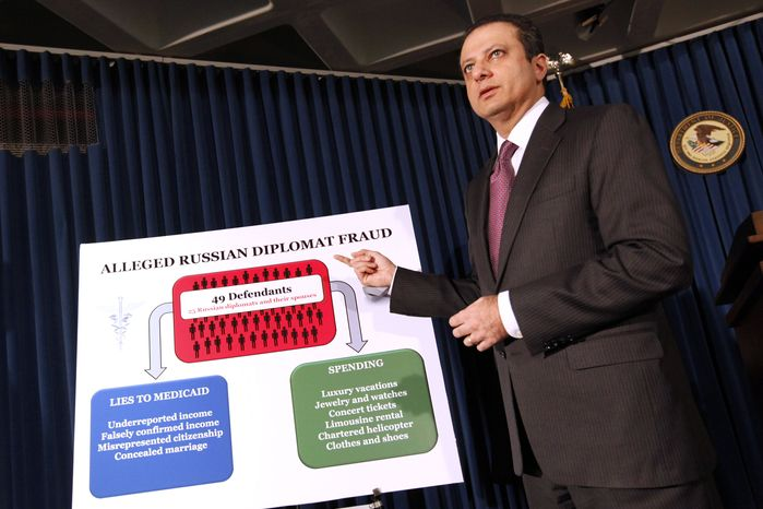 U.S. Attorney Preet Bharara announces charges against more than a dozen Russian diplomats and their spouses living in New York during a news conference Thursday, Dec. 5, 2013 in New York.  The charges stem from t