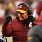 Washington Redskins head coach Mike Shanahan grimaces on the sideline in the third quarter as the Washington Redskins play the Kansas City Chiefs at FedExField, Landover, Md., Sunday, December 8, 2013. (Andrew Harnik/The Washington Times)