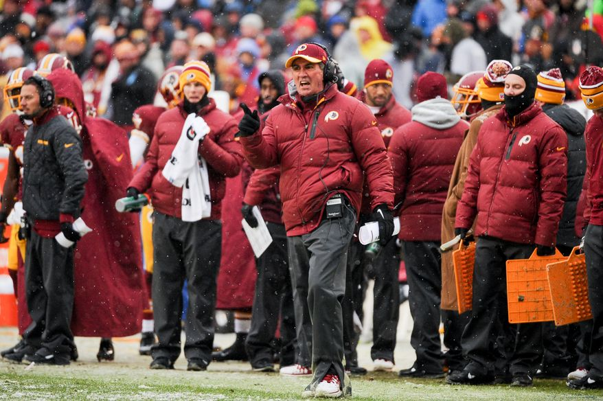 Washington Redskins head coach Mike Shanahan yells from the sideline in the first quarter as the Washington Redskins play the Kansas City Chiefs at FedExField, Landover, Md., Sunday, December 8, 2013. (Andrew Harnik/The Washington Times)