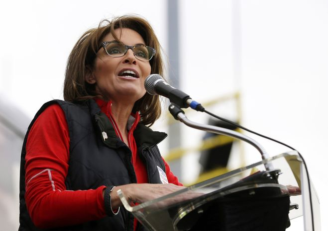 Former Alaska Gov. Sarah Palin speaks at a rally for U.S. Senate candidate Steve Lonegan in New Egypt, N.J., on  Saturday, Oct. 12, 2013. (AP Photo/Julio Cortez)