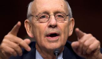 Supreme Court Justice Stephen G. Breyer noted during arguments Tuesday the fact the Environmental Protection Agency has been granted by courts wide latitude in how it interprets the Clean Air Act. (ASSOCIATED PRESS)