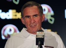 ** FILE ** Washington Redskins head coach Mike Shanahan speaks during a media availability after an NFL football game against the New York Giants Sunday, Dec. 1, 2013, in Landover, Md. (AP Photo/Nick Wass)