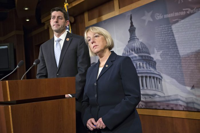 ** FILE ** House Budget Committee Chairman Paul Ryan, R-Wis., left, and Senate Budget Committee Chairwoman Patty Murray, D-Wash., listen to a question after announcing a tentative agreement between Republican and Democratic negotiators on a government spending plan, at the Capitol in Washington, Tuesday, Dec. 10, 2013. (AP Photo/J. Scott Applewhite)