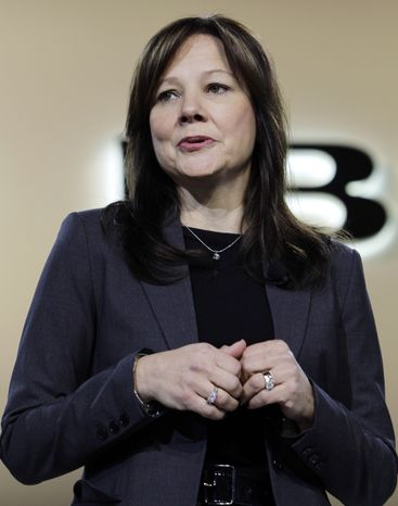 ** FILE ** Mary Barra, senior vice president for global product development at General Motors, speaks at the debut of the 2013 Buick Encore at the North American International Auto Show in Detroit on Jan. 10, 2012. (AP Photo/Paul Sancya)