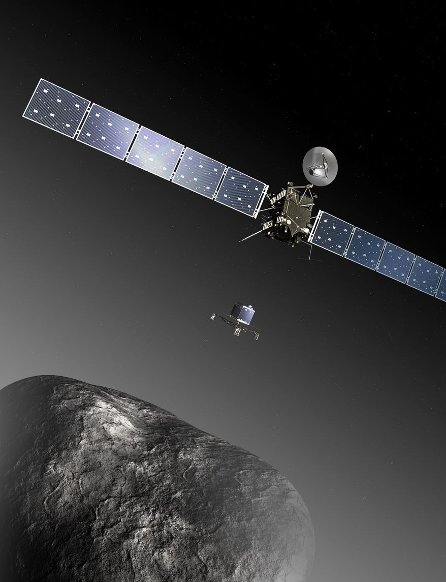 This publicly provided image  by the European Space Agency ESA  shows  an artist's impression of the Rosetta orbiter deploying the Philae lander to comet 67P/Churyumov–Gerasimenko. The image is not to scale; the Rosetta spacecraft measures 32 m across including the solar arrays, while the comet nucleus is thought to be about 4 km wide. The European Space Agency has set a tentative date for the first landing of a spacecraft on a comet. ESA says Tuesday Dec. 10, 2013  its Rosetta probe will wake up from hibernation Jan. 20 before chasing down comet 67P/Churyumov-Gerasimenko. If all goes according to plan, Rosetta will launch a lander onto the surface of the comet on Nov. 11, 2014. (AP Photo/ESA, C.Carreau)