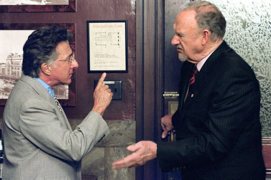 "Actors Dustin Hoffman and Gene Hackman in the movie portrayal of John Grisham's thriller ""Runaway Jury."""
