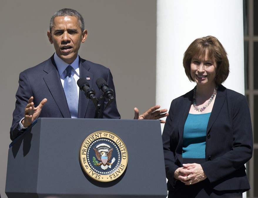 FILE - In this June 4, 2013 file photo, President Barack Obama gestures while speaking in the Rose Garden of the White House in Washington, Tuesday, June 4, 2013, to announce the judicial nominations including Patricia Ann Millett, right, to the U.S. Court of Appeals for the District of Columbia Circuit. Senate Democrats have approved a key judicial nominee from President Barack Obama, the first nomination cleared since they weakened Senate filibuster rules.The Senate voted 56-38 to approve Millett's nomination to the U.S. Court of Appeals for the District of Columbia.  (AP Photo/Manuel Balce Ceneta, File)