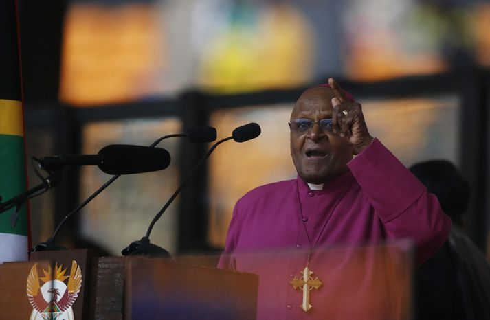 Retired Anglican Archbishop Desmond Tutu speaks at the memorial service for former South African president Nelson Mandela at the FNB
