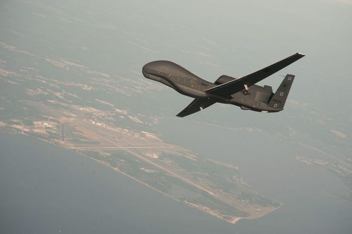 An RQ-4 Global Hawk unmanned aerial vehicle conducts tests over the Naval Air Station in Patuxent River, Md. (NORTHROP GRUMMAN VIA ASSOCIATED PRESS)