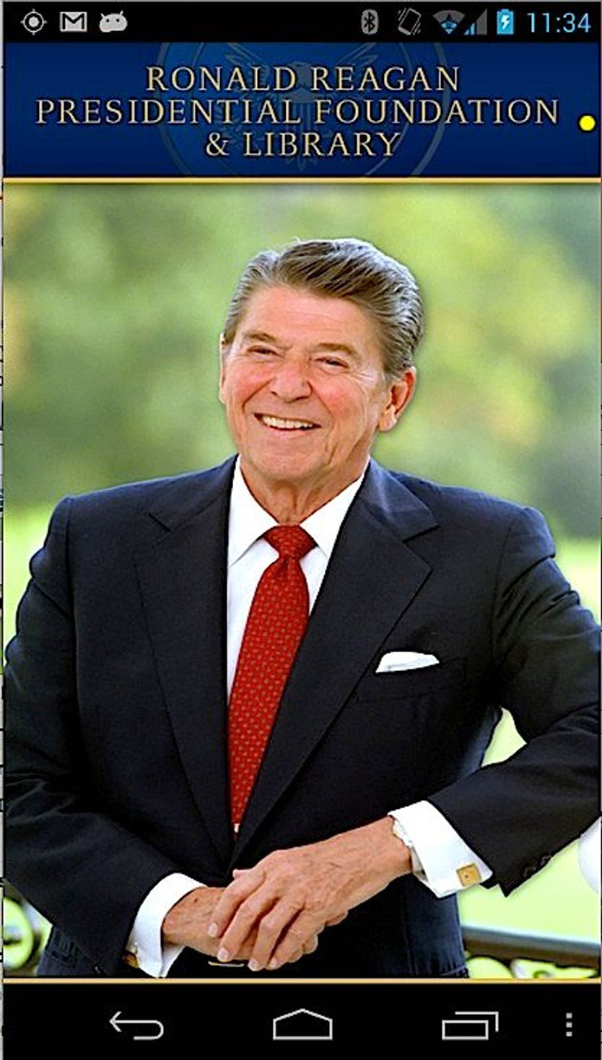 """A new """"Ronald Reagan Official App"""" features the 40th president's speeches, quotes, dairy entries, historic photos, videos and more. (RONALD REAGAN PRESIDENTIAL FOUNDATION)"""