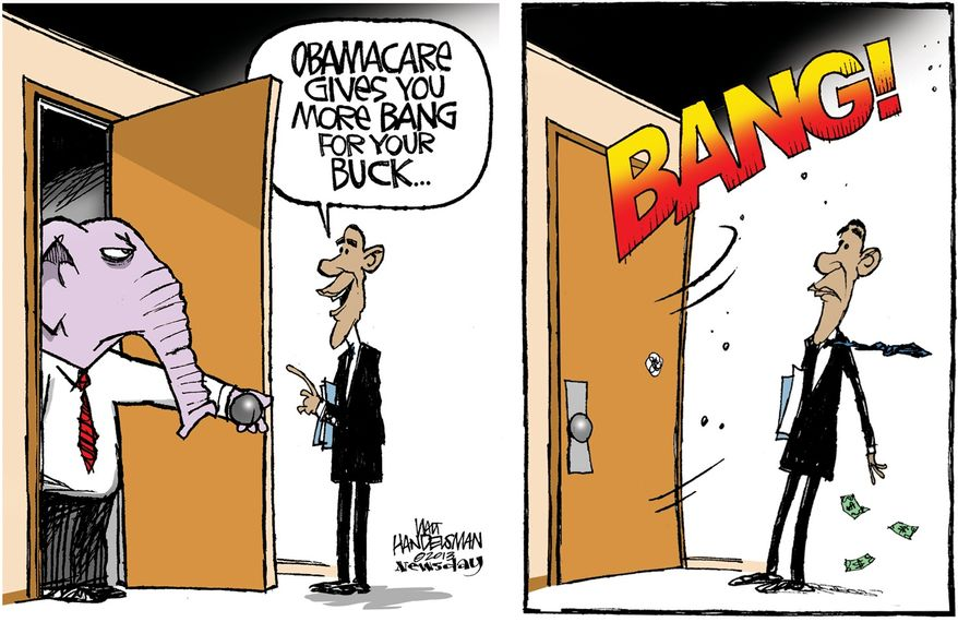 Obamacare gives you more bang for the buck ... (Illustration by Walt Handelsman of Newsday)