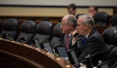 Randy Forbes, U.S. Representative (R), listens to testimony from Dr. Seth Cropsey, Ronald O'Rourke and Dr. Andrew Erickson, on the topic of U.S. Asia-Pacific Strategic Considerations Related to P.L.A. Naval Forces Modernization, in Washington, DC., Wednesday, December 11, 2013.  (Andrew S Geraci/The Washington Times)