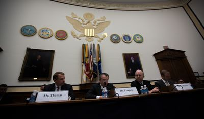 Jim Thomas, Dr. Seth Cropsey, Ronald O'Rourke and Dr. Andrew Erickson, discuss the U.S. Asia-Pacific Strategic Considerations Related to P.L.A. Naval Forces Modernization in front of the House Armed Services Committee, in Washington, DC., Wednesday, December 11, 2013.  (Andrew S Geraci/The Washington Times)