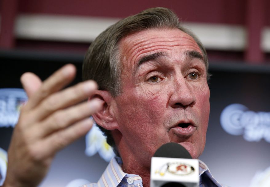 Washington Redskins head coach Mike Shanahan speaks during a media availability at their NFL football training facility, Wednesday, Dec. 11, 2013, in Ashburn, Va. Kirk Cousins will start for the Redskins on Sunday, and Robert Griffin III will be the No. 3 quarterback behind Rex Grossman. Shanahan went ahead with his plan to sit Griffin, further stoking the turmoil surrounding the future of the coach.  (AP Photo/Alex Brandon)