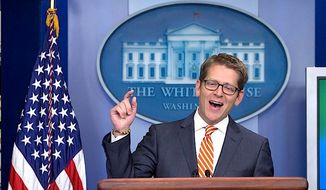 "All in a day's work: White House press secretary Jay Carney praises former President George W. Bush's paintings (""I think the results are pretty impressive"") and wrangles with skeptical press over transparency issues. (Associated Press)"