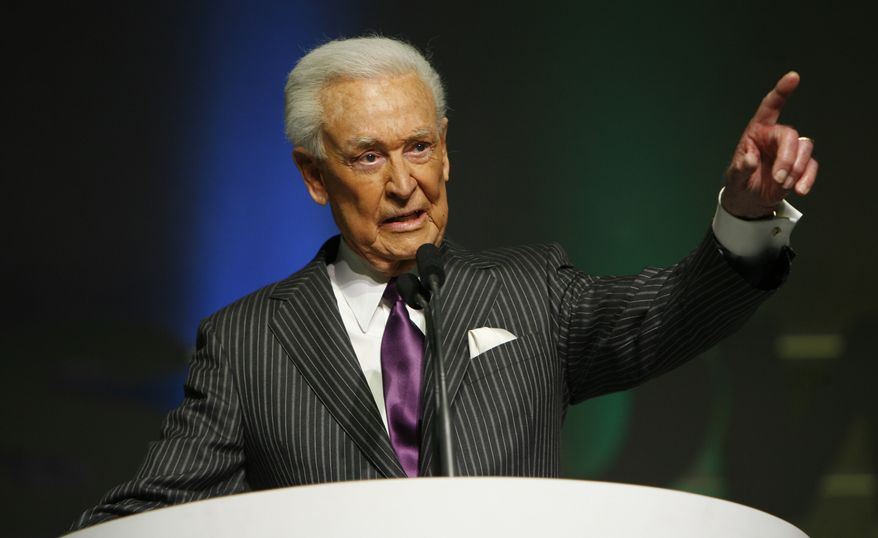 **FILE** Bob Barker is inducted into National Association of Broadcasters hall of fame at the Las Vegas Hilton on April 14, 2008. (Associated Press)
