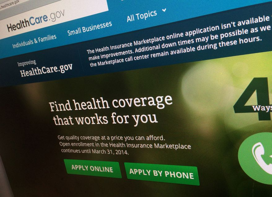 ** FILE ** This photo of part of the HealthCare.gov website is photographed in Washington, in this Nov. 29, 2013, file photo. (AP Photo/Jon Elswick, File)