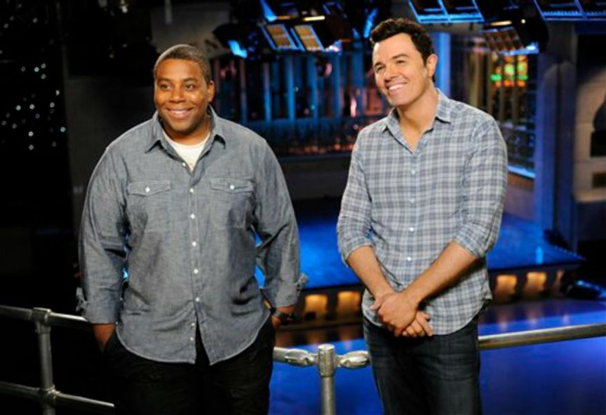 "Kenan Thompson, left, and host Seth MacFarlane on the set of ""Saturday Night Live"" in New York, Sept. 11, 2012. (AP Photo/NBC, Dana Edelson)"