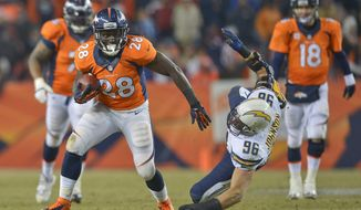 Denver Broncos running back Montee Ball (28) breaks a tackle by San Diego Chargers outside linebacker Jarret Johnson (96) in the fourth quarter of an NFL football game, Thursday, Dec. 12, 2013, in Denver. (AP Photo/Jack Dempsey)