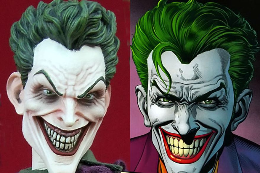 Sideshow Collectibles' sixth scale Joker compared to artist Brian Bolland's interpretation. (Photo by Joseph Szadkowski/The Washington Times)
