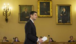 Rep. Paul Ryan, Wisconsin Republican, who is House Budget Committee chairman, arrives for a congressional budget conference on Capitol Hill in Washington on Wednesday, Nov. 13, 2013. (AP Photo/Jacquelyn Martin)
