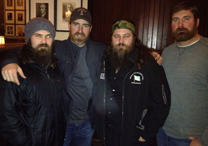 Jep Robertson of Duck Dynasty fame, Nationals first baseman Adam LaRoche, Willie Robertson of Duck Dynasty and former New England Patriot Matt Light shared stores from their recent visit with American troops as part of a USO Tour (photo by Mike Harris/The Washington Times)