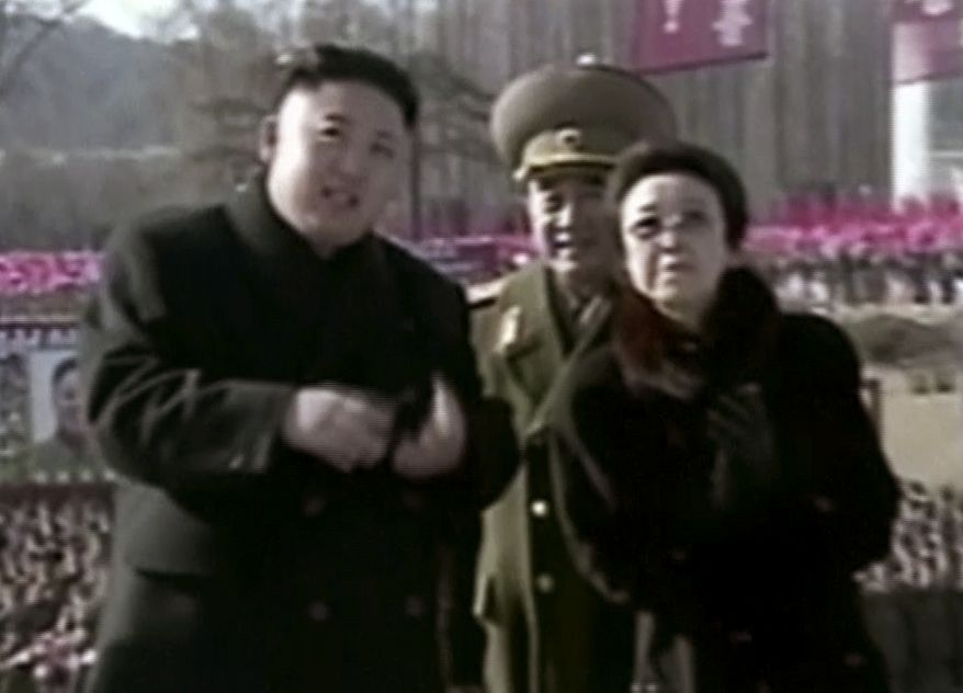 ** FILE ** North Korean leader Kim Jong-un (left), along with his aunt Kim Kyong-hui (right), attends a statue-unveiling ceremony in Pyongyang, North Korea, on Feb. 16, 2013, the birthday anniversary of the late North Korean dictator Kim Jong-Il. (AP Photo/KRT via AP Video)