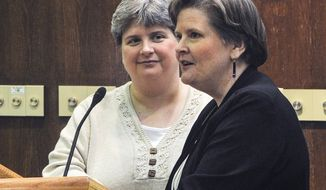 Sharon Baldwin (left) and Mary Bishop speak at East Central University in Ada, Okla., on Thursday, Oct. 10, 2013, as part of the ECU Gay-Straight Alliance's National Coming Out Day event. The women are two of four plaintiffs in a lawsuit filed in November 2004 in federal court in Tulsa, Okla., challenging the federal Defense of Marriage Act and the Oklahoma Constitution's ban on same-sex marriage. (AP Photo/Eric Turner)
