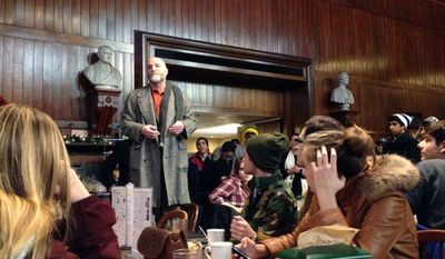 Jay M. Harris, dean of undergraduate education at Harvard University, addresses evacuated students in Annenberg Hall on Monday, Dec. 16, 2013, after unconfirmed reports of explosives in four campus buildings in Cambridge, Mass. (AP Photo/The Harvard Crimson, Jessica C. Salley)