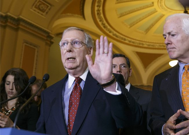 Senate Minority Leader Mitch McConnell of Ky., joined by Senate Minority Whip John Cornyn of Texas, right, and Sen. John Barrasso, R-Wyo., rear, talks to reporters on Capitol Hill in Washington, Tuesday, Dec. 17, 2013, following a Republican policy luncheon.  (AP Photo/J. Scott Applewhite)
