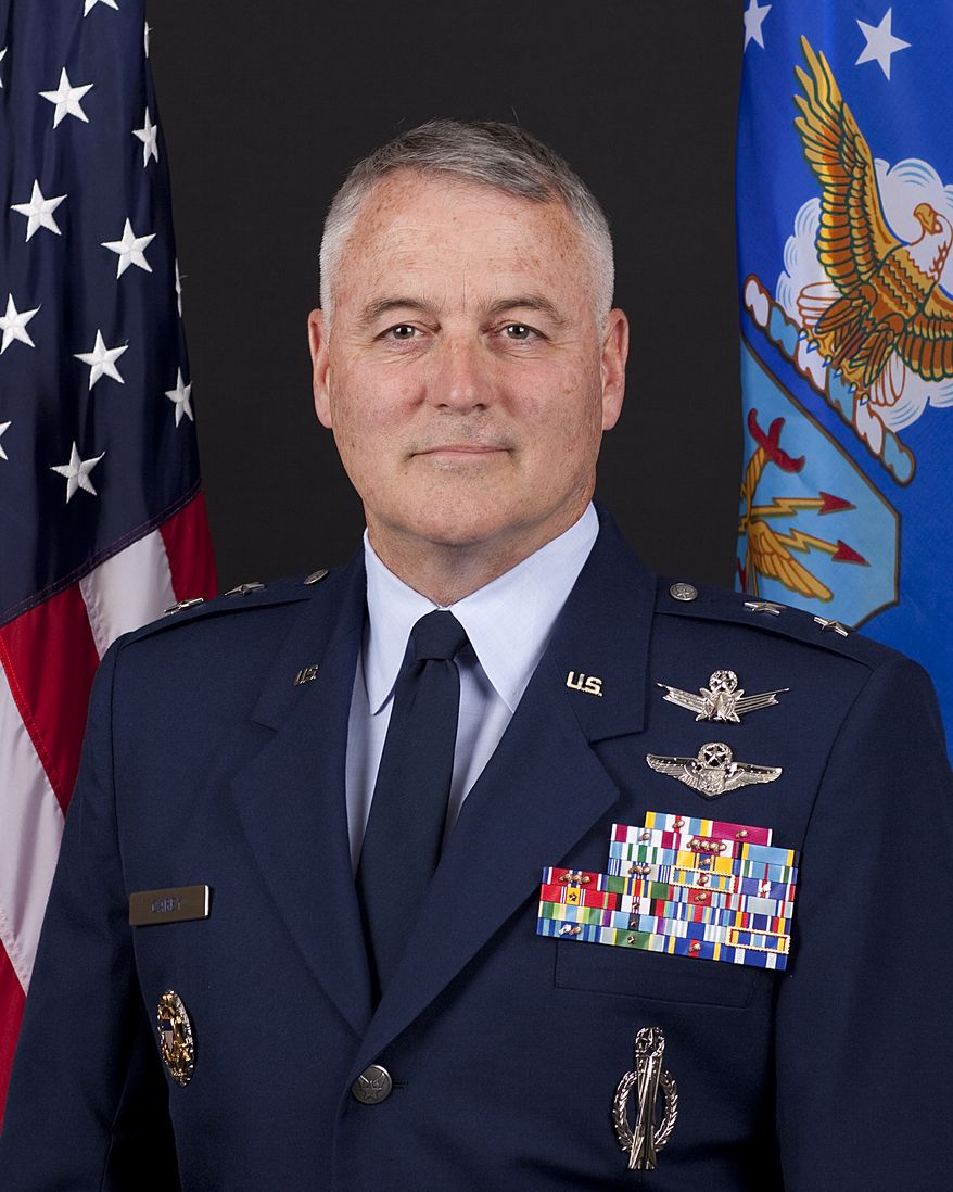 """This undated handout photo provided by the U.S. Air Force shows Maj. Gen. Michael J. Carey.  Investigators say the Air Force general, fired in October as commander of the U.S. land-based nuclear missile force, engaged in """"inappropriate behavior"""" while in Russia, including heavy drinking and rudeness to his hosts. (AP Photo/US Air Force)"""