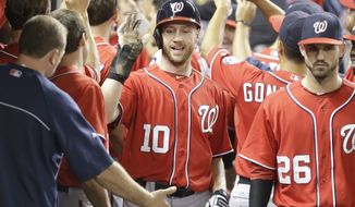 Washington Nationals' Corey Brown (10) is congratulated by teammates after he and Ian Desmond scored on a single by Tyler Moore during the ninth inning of a baseball game against the Miami Marlins, Saturday, Sept. 7, 2013, in Miami. The Nationals defeated the Marlins 9-2. (AP Photo/Wilfredo Lee)
