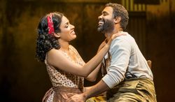 """Alicia Hall Moran plays Bess to Nathaniel Stampley's Porgy in """"The Gershwins' Porgy and Bess."""" (Photograph by Michael J. Lutch)"""