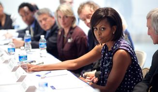 First Lady Michelle Obama attended a meeting with Communities In Schools board members and later read to a third grade class at Ferebee Elementary School.(Official White House Photo by Samantha Appleton) 
