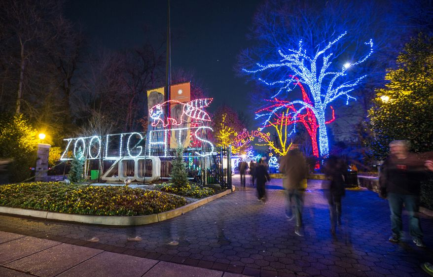 Hundreds of people enter the Smithsonian National Zoological Park to enjoy the Zoolights holiday display, in Washington, DC., Sunday, December 15, 2013.  (Andrew S Geraci/The Washington Times)