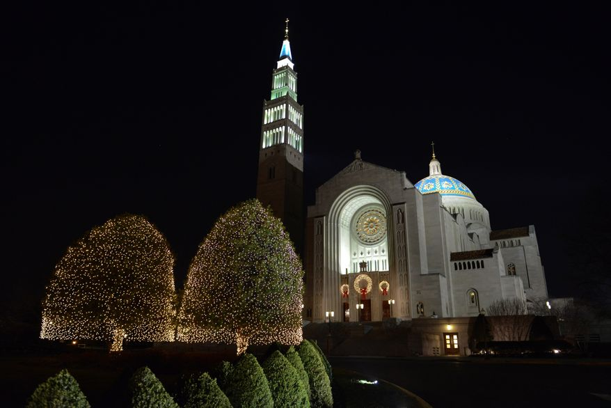 The Basilica of the National Shrine of the Immaculate Conception in Washington, D.C., is decorated for the Christmas season. (Lloyd Villas/The Washington Times)