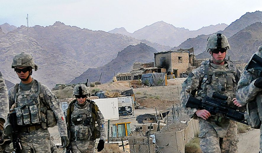 ** FILE ** U.S. soldiers depart Forward Operating Base Baylough, Afghanistan, June 16, 2010, to conduct a patrol. The soldiers are from 1st Platoon, Delta Company, 1st Battalion, 4th Infantry Regiment. (DoD photo by Staff Sgt. William Tremblay, U.S. Army/Released)