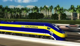 An artist's conception of a high-speed rail car in California is miles from reality after decades of fits and starts involving lawsuits, alternative routes, environmental studies, political deals, funding shortfalls and a statewide vote that many would reconsider. (California High-Speed Rail Authority via Associated Press)