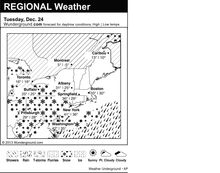 This is the Weather Underground forecast for Tuesday, December 24, 2013 for the eastern region of the U.S. (AP Photo/Weather Underground)