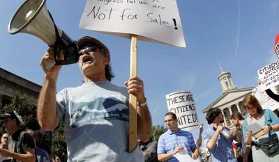 Gene Levine speaks to a crowd as he takes part in a protest on Thursday, Oct. 6, 2011, in Nashville, Tenn., to draw attention to concerns over Wall Street practices and economic inequality. (AP Photo/Mark Humphrey)